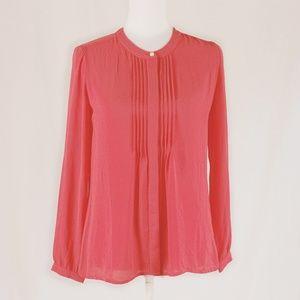 BANANA REPUBLIC Silky Chiffon Coral Pink Blouse XS